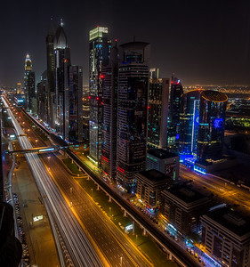 Night view of Sheikh Zayed Road in Dubai.