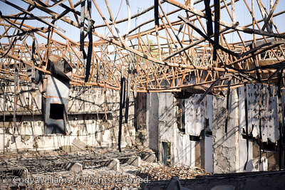 The remains of the Al Nasr Cinema of Dubai, an Indian movie theatre that burned down in December of 2008, United Arab Emirates (UAE), May 27, 2009.