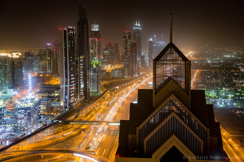 Evening view of Sheikh Zayed Road in Dubai.