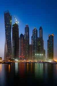 Evening view of Dubai's Marina district.