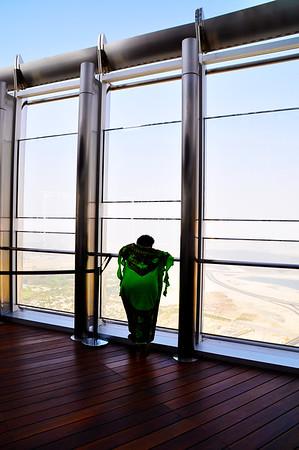 Woman at the Burj Khalifa viewing deck