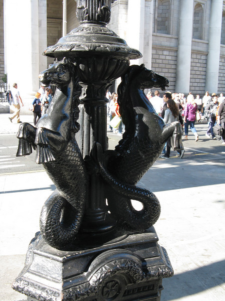 Seahorse sculptures on the street light posts.