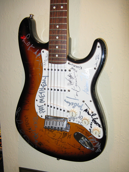 Autographed guitar in the Hardrock Cafe where I had lunch.