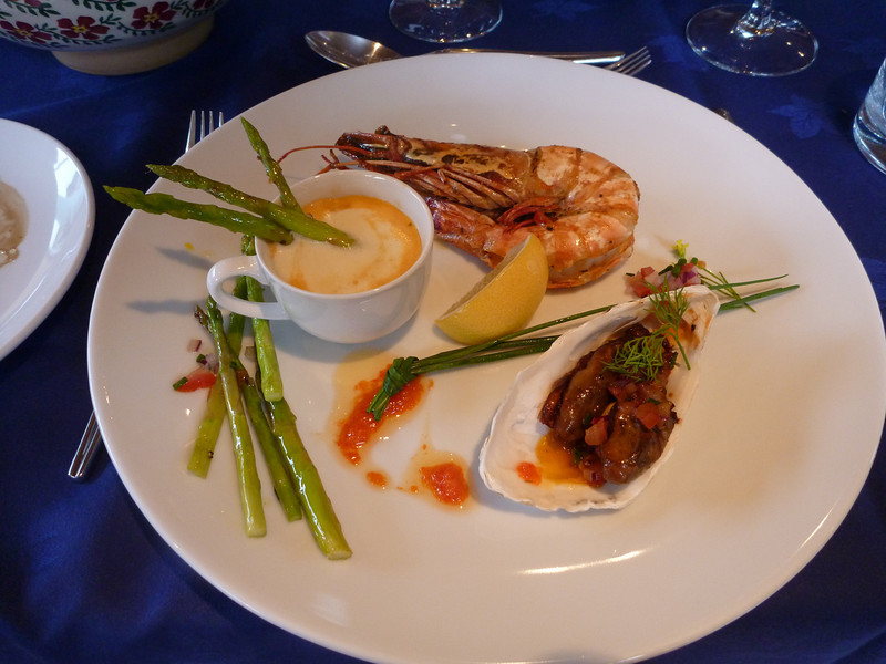 Olivia offered an amazing VARIETY of delicious local foods. Prawn, salmon, inventive soups, duck, fois gras, lamb, and more!