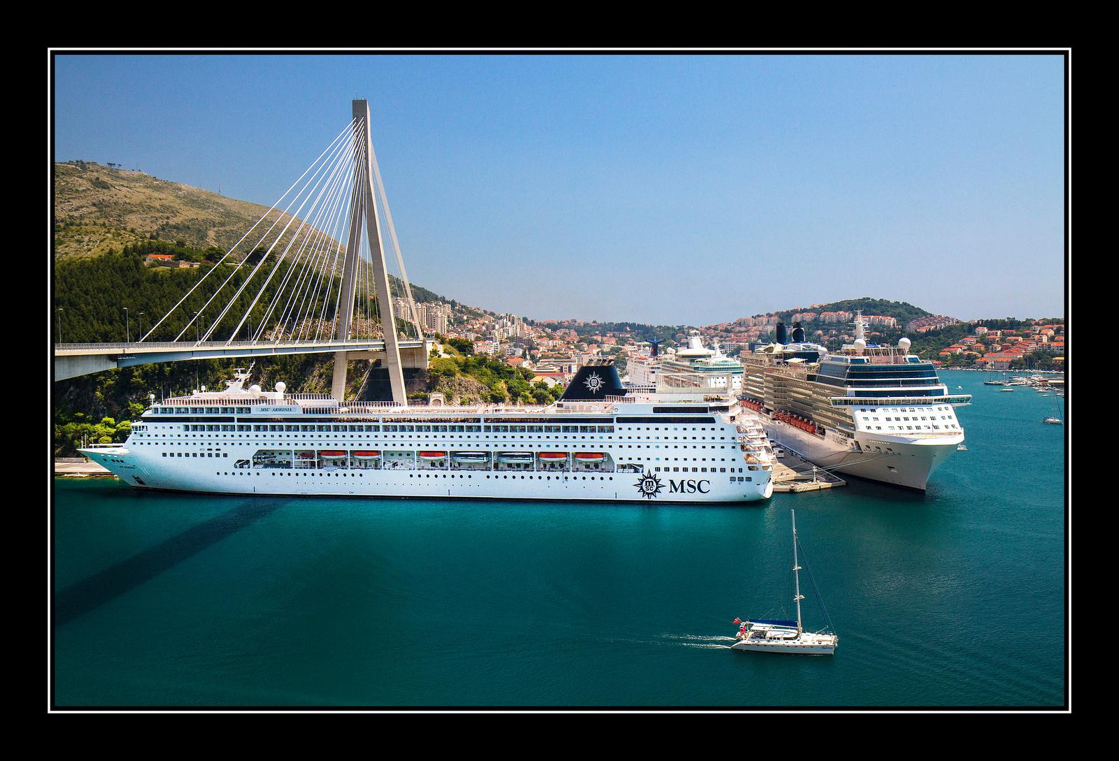 IMAGE: https://photos.smugmug.com/Travel/Dubrovnic/i-gq3sd4K/0/9a6796e6/X3/Dubrovnik%20cruise%20ships%20and%20bridge-X3.jpg
