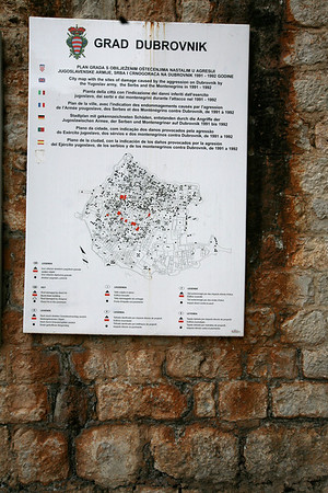 City Map Depicts the damages during the 1990's War  The Old City of Dubrovnik, Croatia