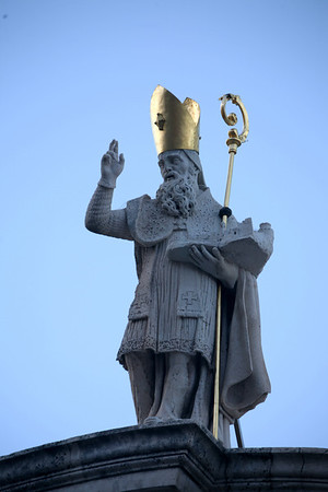 The Statue of St Vlado on Top of the Church of St. Vlado, Dubrovnik, Croatia