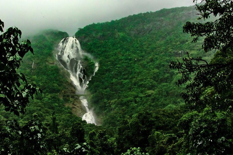 DudhSagar Falls - One of the first views from the train in the middle of heavy monsoon rain