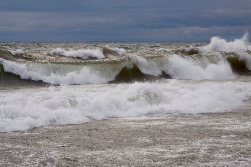Lake Michgan waves on Shore line