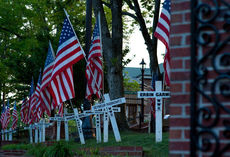 Every year the week before Memorial Day the city of Duluth GA places a flag and a cross for all those former Duluth citizens that served and lost their life doing so for this county.  They line the streets, parks and just about everywhere you go near the center of Duluth.  In their honor, Let's never forget.