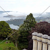 Lookout view from the tower of Larnach castle in Dunedin, New Zealand.