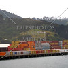 Containers await for cargo ship loading at Port of Otago in Dunedin, New Zealand.