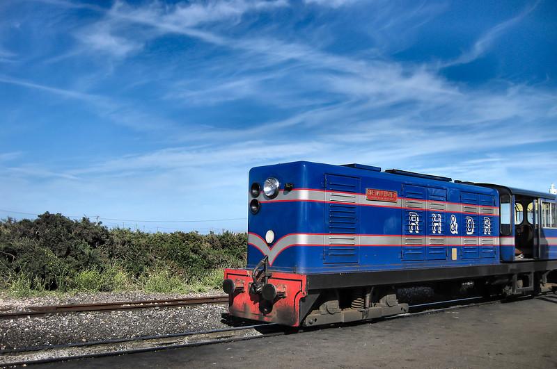 """""""Captain Howey"""" locomotive on the Romney, Hythe & Dymchurch narrow gauge railway."""