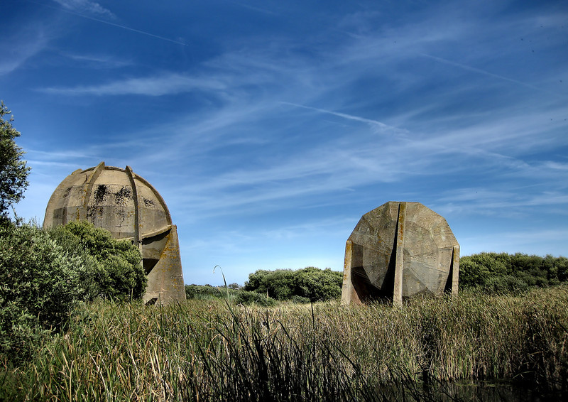 30 foot (left) and 20 foot diameter sound mirrors.