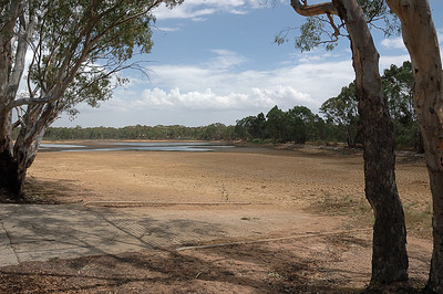 Boat Ramp at Goldfields Reservoir  during drought of 2006