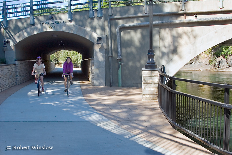 MR, Marilyn Leftwich and Patti Adler bicycling on River Trail using new Main Avenue underpass, Durango, Colorado