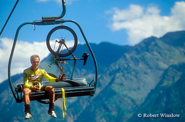 NoMR, Mountain Biker Riding up Chairlift, Durango Mountain Resort, Colorado