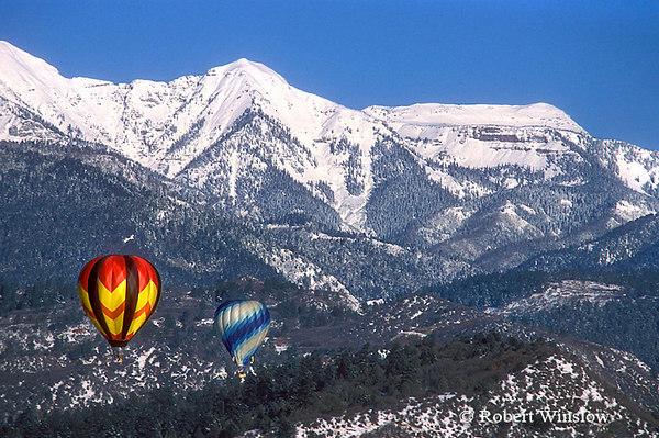 Winter, Hot Air Balloons, Durango, Colorado, La Plata Mountains in the background.