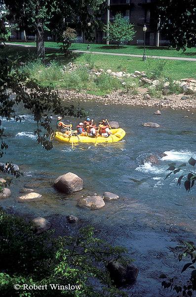 Raft, Animas River, Animas River Trail on Far Shore, Durango, Colorado