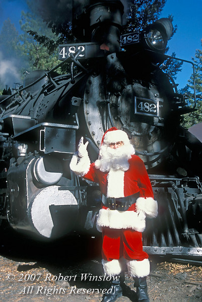 No Release, Santa Claus and Engine of Durango and Silverton Narrow Gauge Railroad, Durango, Colorado, USA, North America