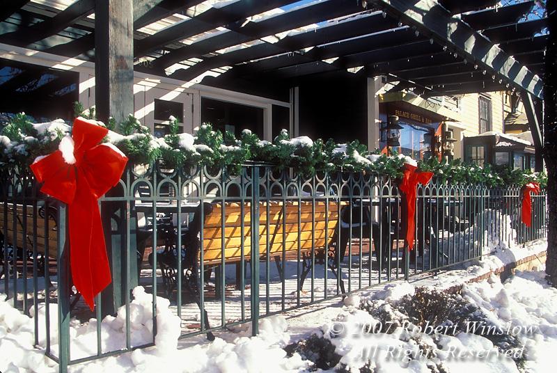 Palace Grill Exterior, Holiday Season, Snow, Durango, Colorado, USA, North America