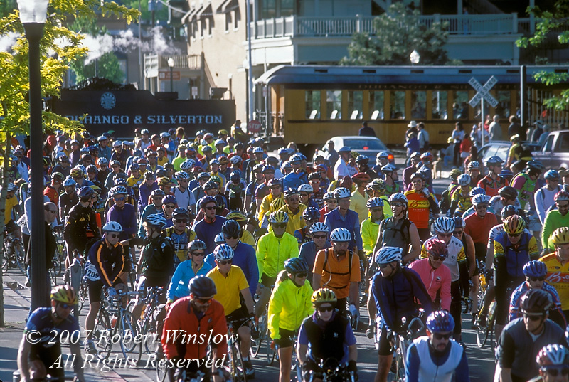Start of Iron Horse Bicycle Classic, Durango and Silverton Narrow Gauge Railroad, Colorado, USA, North America