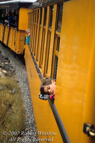 No Model Release, Child Looking out a Window, Durango and Silverton Narrow Gauge Railroad, Colorado, USA, North America