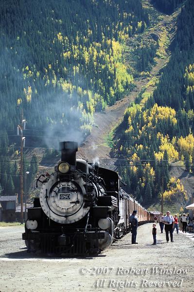 Young Boy and Engineer, Train at Silverton, Autumn, Durango and Silverton Narrow Gauge Railroad, Colorado, USA, North America