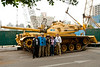 Posing in front of Tahrir Square tank positioned outside of Egyptian Museum. With us is our personal security guard, Mohammoud.