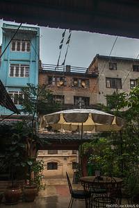 Rain outside the Revolution Cafe