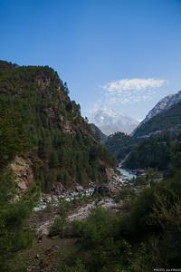 Mountain, Village, Waterfall, River