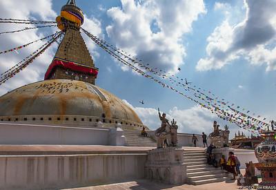 Walking up the Boudhanath Stupa