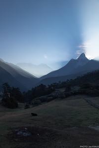 Tengboche sunrise behind Ama Dablam