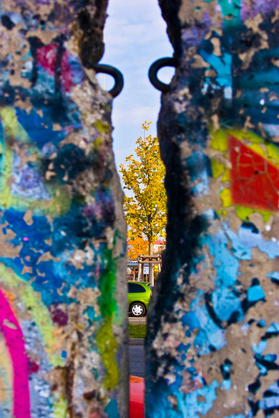 "Looking through the Berlin Wall from east to west at the lone tree representing hope.  I have entitled this picture ""Freedom."""
