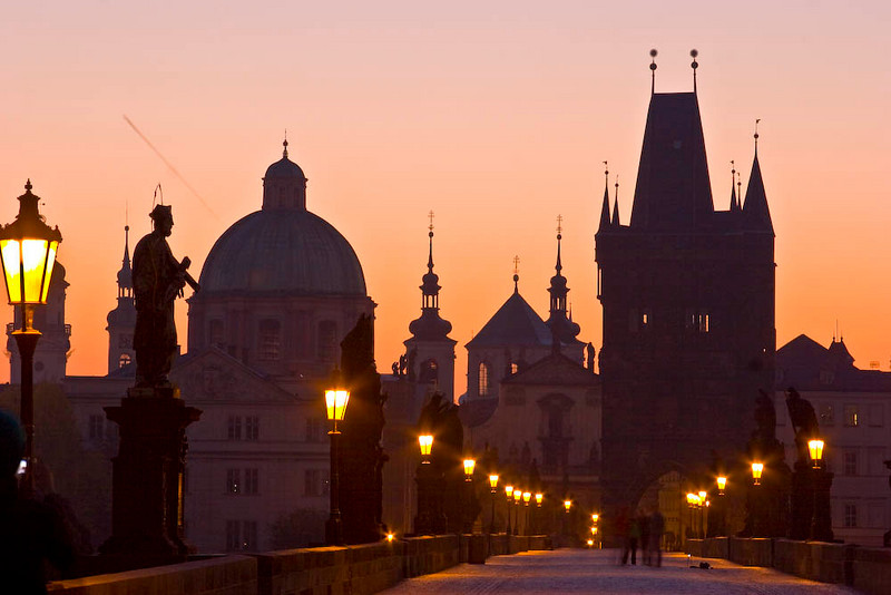 This is a sunrise shot from the Charles Bridge, which is the oldest in Prague and arguably in Europe.  I took this the first morning....and it was dam cold!!