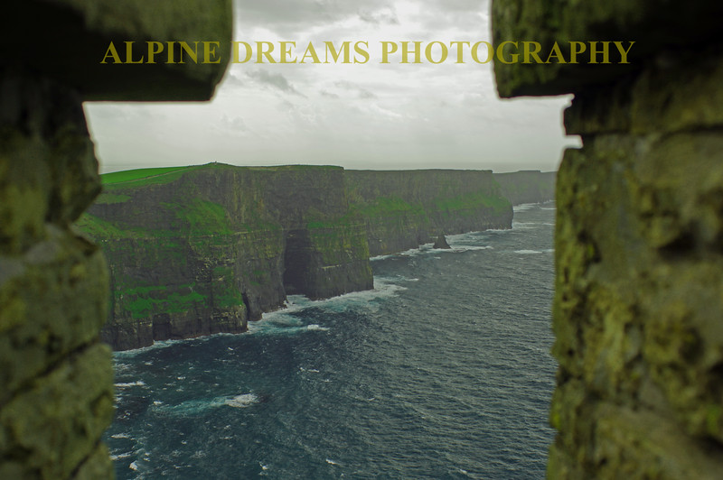 CLIFFS OF MOHER IN THE RAIN FROM THE TOWER