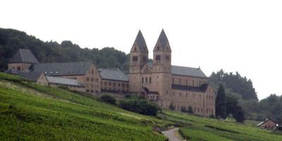 Benedictine Abbey of St. Hildegard over looking Rudesheim and Bingen, across the river
