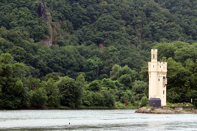 The Mouse Tower on a small island in the Rhine - the original tower dates to Roman times - the current tower was constructed in 1855 as a Prussian Watch Tower