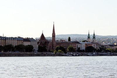 more Buda from our mooring in Pest - Calvinist church (L) and Church of Saint Anne (R)