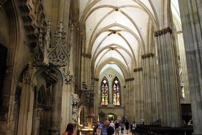 The cathedral is 279 feet long and 115 feet wide.  The nave is 105 feet high.