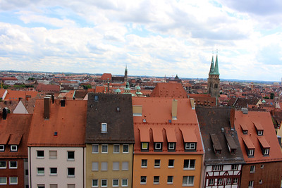old town Nuremberg from the Imperial Palace grounds - St. Sebald church on the right