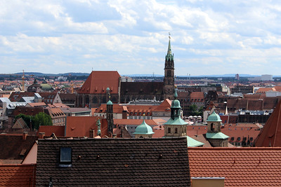 old town Nuremberg from the Imperial Palace grounds - old town hall (front) and St. Sebald's (back)