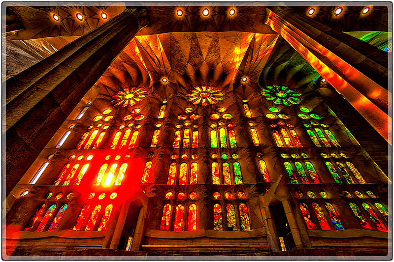 Stain Glass Wall in La Sagrada Familia, Barcelona, Spain