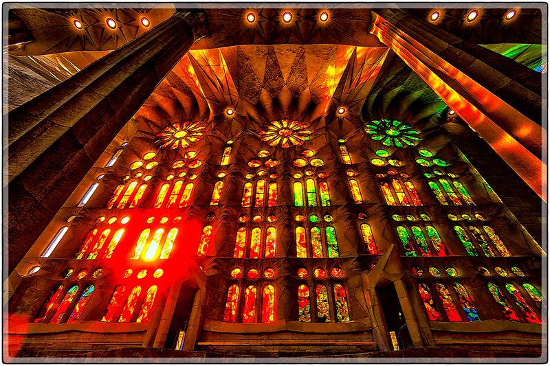 Stain Glass Wall in La Sagrada Familia, Barcelona, Spain