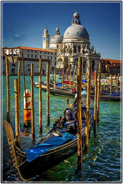 Santa Maria della Salute Dome and Gondolas, Venice, Italy