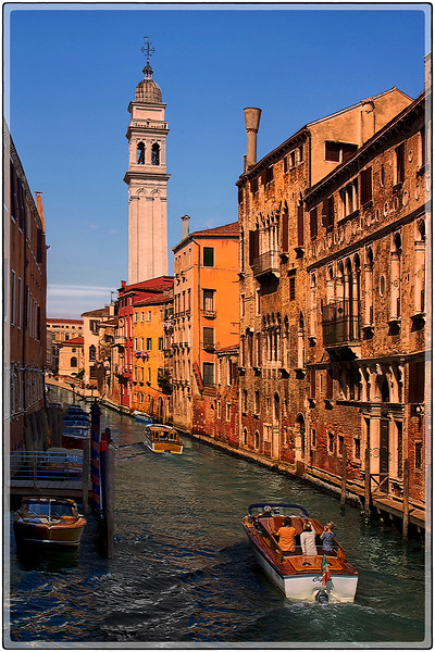 Bell Tower and Canal, Venice, Italy