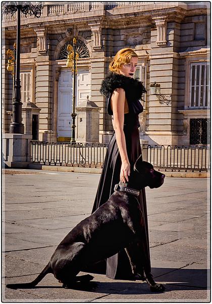 Model in Black, Madrid, Spain