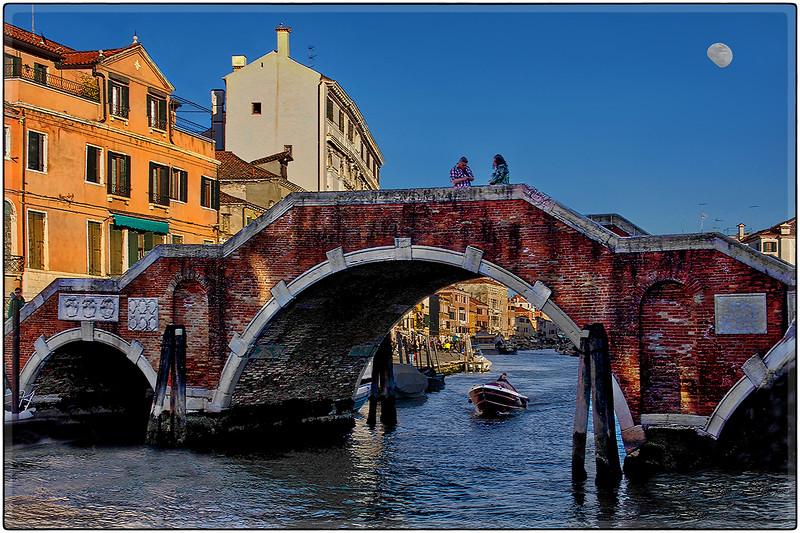 Moon Over Bridge, Venice, Italy