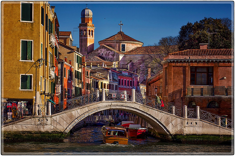 Crossing the Afternoon Bridge, Venice, Italy