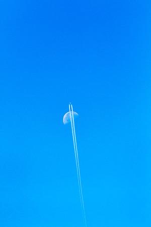 Plane & Moon.